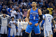 Oklahoma City Thunder guard Russell Westbrook celebrates after scoring at the end of the second half to send the game into overtime in an NBA basketball game against the Orlando Magic in Orlando, Fla., Friday, Oct. 30, 2015. The Thunder won 139-136 in double overtime. (AP Photo/Phelan M. Ebenhack)