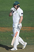 Central Districts Dane Cleaver reacts to a six causing damage in day 2 of the Plunket Shield Cricket match, Central Districts v Northern Districts, McLean Park, Napier, Monday, February 24, 2020. Copyright photo: Kerry Marshall / www.photosport.nz