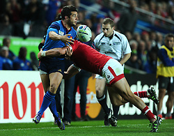 DTH van der merwe of Canada tackles Brice Dulin of France  - Mandatory byline: Joe Meredith/JMP - 07966386802 - 01/10/2015 - Rugby Union, World Cup - Stadium:MK -Milton Keynes,England - France v Canada - Rugby World Cup 2015