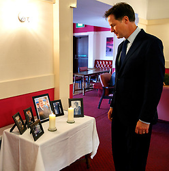 © Licensed to London News Pictures. 12/06/2015. Fort William, UK. Ex-Liberal Democrat leader Nick Clegg reflecting whilst looking at pictures of Charles Kennedy at a community centre in Caol, near his Fort William home in Scotland on Friday, June 12, 2015 after the funeral of ex-Liberal Democrat leader. Mr Kennedy died suddenly on June 1, 2015 at the age of 55 after suffering a major haemorrhage as a result of a long battle with alcoholism. Photo credit: Tolga Akmen/LNP