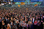 Kiev, Ukraine, 21/05/2005..The fiftieth Eurovision Song Contest. A crowd of some 300,000 in Maidan Square watches a live broadcast of the Eurovision final on giant television screens.
