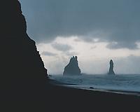 Reynisfjara black sand beach on a stormy winter morning. South Iceland.
