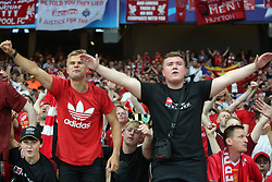 May 26, 2018 - Kiev, Ukraine - Liverpool FC fans and supporters entertain at NSC Olipiyskyi stadium in Kyiv, Ukraine, May 26, 2018 before the UEFA Champions League Final kicks off. (Credit Image: © Sergii Kharchenko/NurPhoto via ZUMA Press)