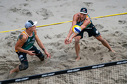 Martins Plavins LAT, Edgars Tocs LAT in action during the third day of the beach volleyball event King of the Court at Jaarbeursplein on September 11, 2020 in Utrecht.