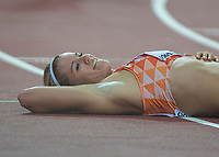 Athletics - 2017 IAAF London World Athletics Championships - Day Eight, Evening Session<br /> <br /> Womens 200m Final<br /> <br /> Dafne Schippers (Netherlands) enjoys the moment as recovers her breath after winning the final at the London Stadium<br /> <br /> COLORSPORT/DANIEL BEARHAM