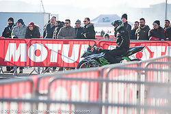 Stunters warm up at Motor Bike Expo. Verona, Italy. Saturday January 21, 2017. Photography ©2017 Michael Lichter.