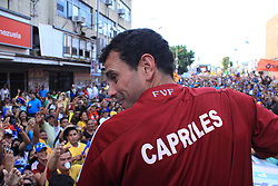 Venezuelan opposition presidential candidate Henrique Capriles attends a rally in Maturin, Venezuela, April 2, 2013. The electoral campaign in Venezuela, heading for the upcoming presidential elections on April 14, officially started on Tuesday and will run for 10 days, during which the candidates will present their proposals to the entire country, April 2, 2013.. Photo by Imago / i-Images...UK ONLY..