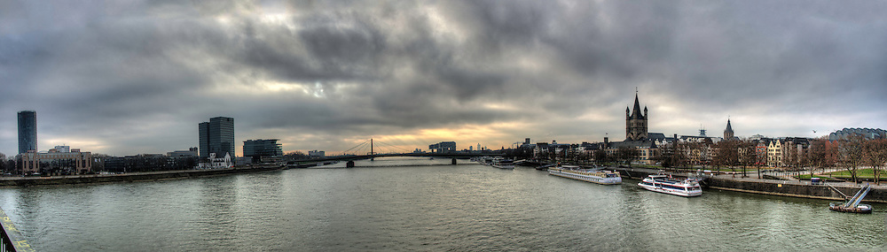 Panorama view from the Hohenzoller bridge in Köln