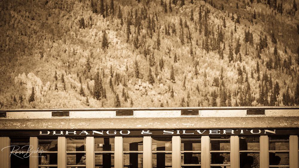 The Durango & Silverton Narrow Gauge Railroad and fall color, Silverton, Colorado USA