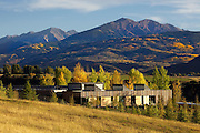 The Aspen Community School. A telephoto shot, compressing the distance to Aspen Highlands beyond.