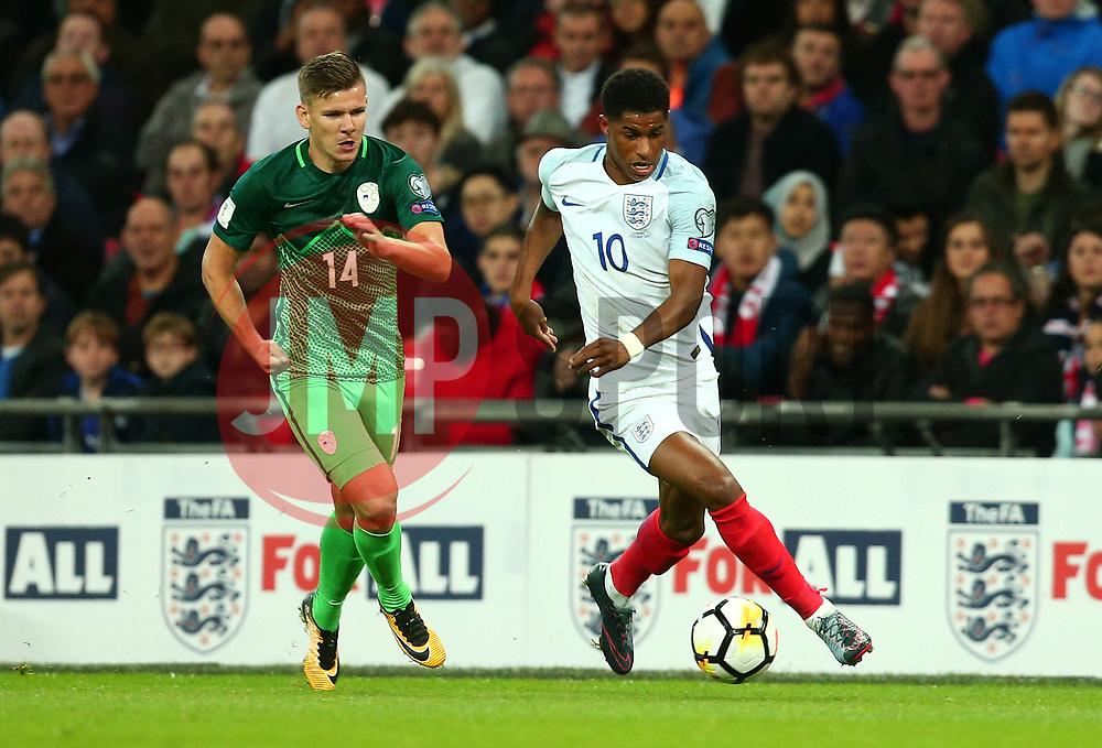 Marcus Rashford of England goes past Roman Bezjak of Slovenia - Mandatory by-line: Robbie Stephenson/JMP - 05/10/2017 - FOOTBALL - Wembley Stadium - London, United Kingdom - England v Slovenia - World Cup qualifier