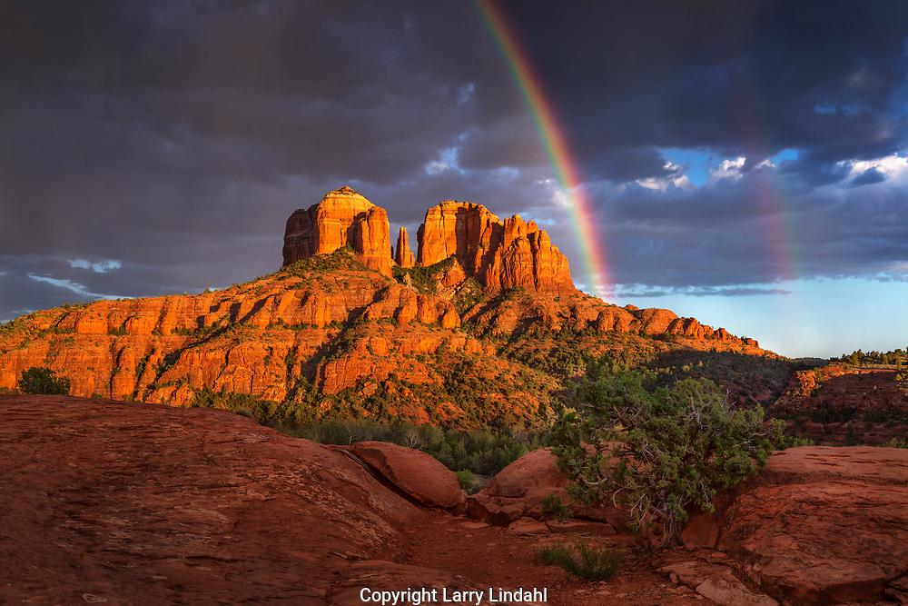 Sunset, rainbow, Cathedral Rock, Coconino National Forest, Sedona, AZ