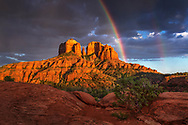 Sunset, rainbow, Cathedral Rock, Coconino National Forest, Sedona, AZ