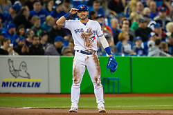 May 11, 2018 - Toronto, ON, U.S. - TORONTO, ON - MAY 11: Toronto Blue Jays third baseman Josh Donaldson (20) tips his cap at an MLB game against the Boston Red Sox on May 11, 2018, at Rogers Centre in Toronto, ON, Canada. (Photo by Kevin Sousa/Icon Sportswire) (Credit Image: © Kevin Sousa/Icon SMI via ZUMA Press)