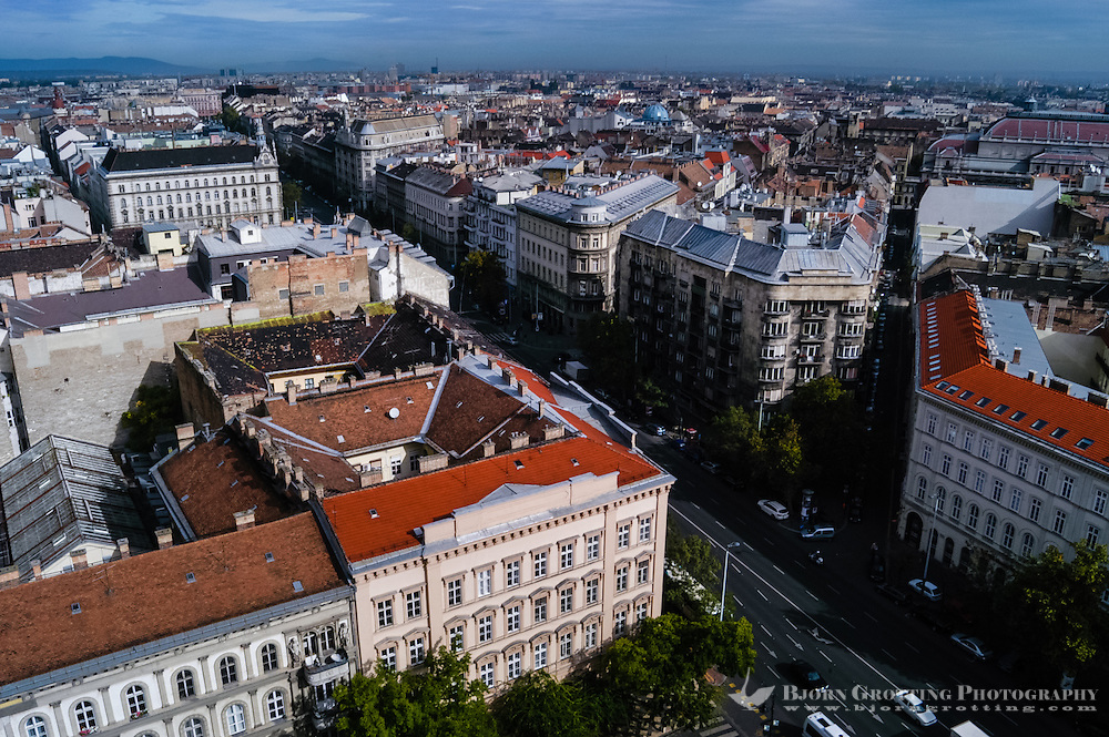 Budapest, Hungary.  City view from the top of St Stephen's Basilica.