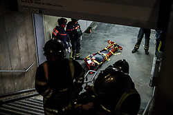 March 28, 2019 - Lyon, France - Anti-terrorist exercise in the underground metro at Croix-Rousse station in Lyon, France, on March 28, 2019. (Credit Image: © Nicolas Liponne/NurPhoto via ZUMA Press)