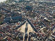 Nederland, Zuid-Holland, Gouda, 20-02-2012; het middeleeuwse centrum van Gouda, met Grote of Sint-Janskerk en op de Markt het gotische Stadhuis. In lijn met het raadhuis de Waag..Gouda is bekend van de goudse kaas, kaarsen, pijpen en stroopwafels..QQQ..luchtfoto (toeslag), aerial photo (additional fee required).copyright foto/photo Siebe Swart