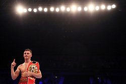 Ryan Burnett celebrates beating Lee Haskins (not pictured) in the IBF World Bantamweight Championship bout at Odyssey Arena Belfast.