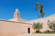 Koutoubia mosque against clear blue sky, Marrakech.