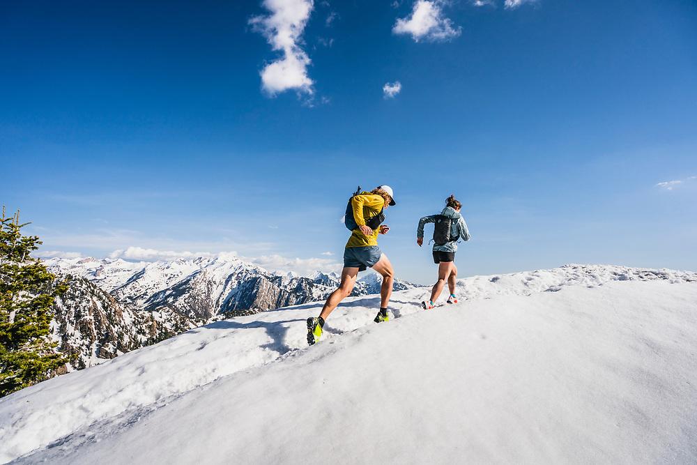 Hillary Gerardi and Joe Grant on the summit of Mount Olympus, Wasatch Range, Utah.