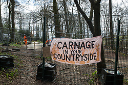 A banner hung from fencing by environmental activists is pictured during tree felling operations for the HS2 high-speed rail link in Jones Hill Wood on 9th April 2021 in Wendover, United Kingdom. Tree felling work began this week, in spite of the presence of resting places and/or breeding sites for pipistrelle, barbastelle, noctule, brown long-eared and natterer's bats, following the issue by Natural England of a bat licence to HS2's contractors on 30th March.