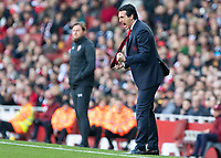Football - 2018 / 2019 Premier League - Arsenal vs. Southampton<br /> <br /> Unai Emery, manager of Arsenal FC, gets angry with his team as they struggle in the second half at The Emirates.<br /> <br /> COLORSPORT/DANIEL BEARHAM