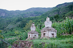 Asia, Nepal, View of tombs on grass, Nepal, Asia