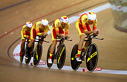 Spain Men Team Pursuit led by Joan Bennassar in qualifying during day one of the 2018 European Championships at the Sir Chris Hoy Velodrome, Glasgow. PRESS ASSOCIATION Photo. Picture date: Thursday August 2, 2018. See PA story SPORT European. Photo credit should read: John Walton/PA Wire. RESTRICTIONS: Editorial use only, no commercial use without prior permissionduring day one of the 2018 European Championships at the Sir Chris Hoy Velodrome, Glasgow. PRESS ASSOCIATION Photo. Picture date: Thursday August 2, 2018. See PA story SPORT European. Photo credit should read: John Walton/PA Wire. RESTRICTIONS: Editorial use only, no commercial use without prior permission