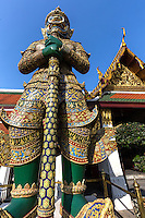 Yaksha Guardians at Wat Phra Kaew, regarded as the most sacred temple in Thailand located inside the grounds of the Grand Palace.