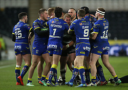 Warrington Wolves Declan Patton (left) is kept apart from the Hull FC players after his challenge on Bureta Faraimo led to him being sent off during the Betfred Super League match at the KCOM Stadium, Hull.