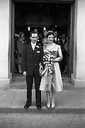 08/10/1959<br /> 10/08/1959<br /> 08 October 1959<br /> Wedding:Kenny - Colgan  (Muriel? and Tommy) at Church of St. Vincent de Paul, Griffith Avenue and the Grand Hotel, Malahide, Dublin. The couple  outside the church after the  the wedding service.