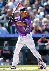 April 8, 2018 - Denver, CO, U.S. - DENVER, CO - APRIL 08: Colorado Rockies outfielder Ian Desmond (20) bats during a regular season MLB game between the Colorado Rockies and the visiting Atlanta Braves on April 8, 2018 at Coors Field in Denver, CO. (Photo by Russell Lansford/Icon Sportswire) (Credit Image: © Russell Lansford/Icon SMI via ZUMA Press)