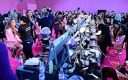 Models backstage at the Victoria's Secret fashion show held at The Grand Palais, Paris, France.