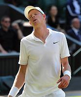 Tennis - 2019 Wimbledon Championships - Week One, Wednesday (Day Three)<br /> <br /> Men's singles, 2nd Round: Kyle Edmund (GBR) v Fernando Verdasco (ESP)<br /> <br /> Kyle Edmund sees the match slipping away on  Centre Court <br /> <br /> COLORSPORT/ANDREW COWIE