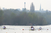Caversham. Berkshire. UK<br /> Men's pairs warming up before the time trial begins at the  2016 GBRowing U23 Trials at the GBRowing Training base near Reading, Berkshire.<br /> <br /> Monday  11/04/2016 <br /> <br /> [Mandatory Credit; Peter SPURRIER/Intersport-images]