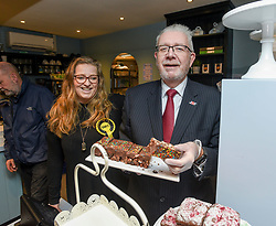 Pictured: Mike Russell and Sarah Masson met activists and checked out the cakes on the campaign visit.<br /> <br /> SNP Brexit Secretary Mike Russell MSP joined candidate for Edinburgh West, Sarah Masson, on the campaign trail at Mimi's Bakehouse in Corstorphine in Edinburgh.<br /> <br /> © Dave Johnston / EEm