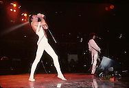 LOS ANGELES, CA - FEBRUARY 25: Freddie Mercury and Brian May of Queen in concert at The Forum on February 25, 1977 in Los Angeles, California.