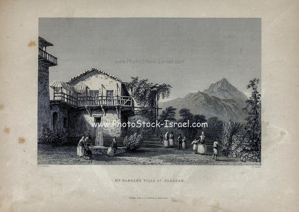 Mr. Barker's villa at Suadeah [Lebanon] from Volume 2 of Syria, the Holy Land, Asia Minor, &c. by Carne, John, 1789-1844; Illustrated by Bartlett, W. H. (William Henry), 1809-1854, and Allom, Thomas, 1804-1872 Published in London in 1837