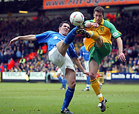 Photo:Scott Heavey<br />Norwich City V Ipswich Town. 02/03/03.<br />Tommy Miller of Ipswich wins the battle with Lee Bromby during this Nationwide division 1 match.