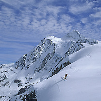 A skier descends through powder snow on Shuksan Arm, near Mount Baker Ski Area.  Mount Shuksan and the Mount Baker Wilderness are in the background.