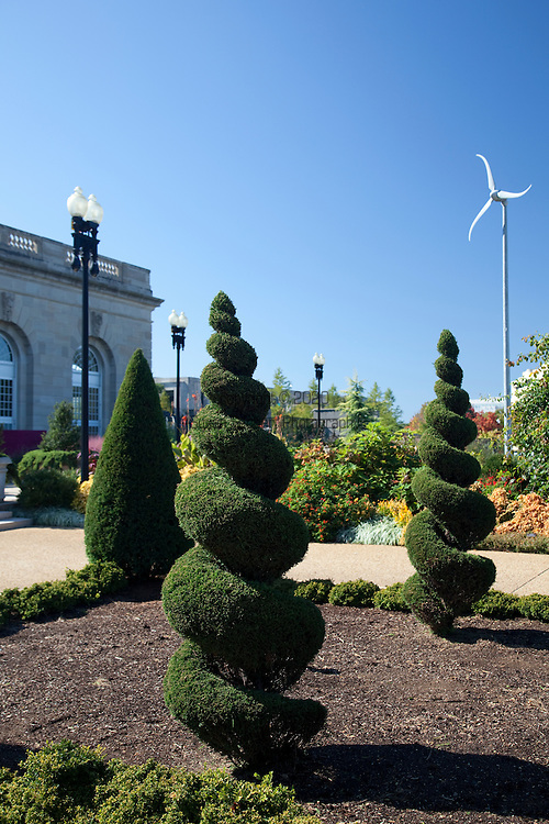 The U.S. Botanic Garden features topiaries in interesting shapes and a scaled wind powered turbine.