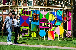 """© Licensed to London News Pictures. 01/06/2021. LONDON, UK.  """"See Through"""", 2020, by Morag Myerscough, in Grosvenor Square, one of 22 public outdoor sculptures installed as part of this year's Mayfair Sculpture Trail and can be seen around Mayfair 2 to 27 June.  The sculpture trail forms part of the eighth, annual edition of Mayfair Art Weekend which celebrates the rich cultural heritage of Mayfair as one of the most internationally known, thriving art hubs in the world with free exhibitions, tours, talks and site-specific installations available to the public.  Photo credit: Stephen Chung/LNP"""