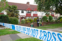 © Licensed to London News Pictures. 28/05/2019.<br /> Orpington,UK.Police officer on guard outside the property.  A woman has died at the scene of a house fire over night in Orpington, South East London, 25 firefighters were called to the fire at around 11pm. The cause of the fire is being investigated by Met police and London Fire Brigade. Photo credit: Grant Falvey/LNP