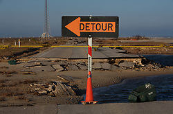 Stock photo of a detour sign redirecting traffic from the Bluewater Highway, Brazoria County, Texas that has been destroyed by Hurricane Ike.