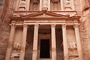 The intricately carved facade of The Treasury (Al Khazneh) in Petra, Jordan.