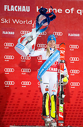 13-01-2015 AUT: Alpine Skiing World Cup, Flachau<br /> Frida Hansdotter (SWE, 1. Platz) //  Celebrates on podium during victory ceremony after ladie's Slalom of FIS Ski Alpine Worldcup at the Hermann Maier <br /> <br /> ***NETHERLANDS ONLY***