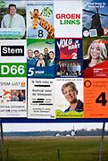 Nederland, the Netherlands, gemeente Berg en Dal, 8-3-2018Vierkiezingsborden voor de gemeenteraadsverkiezingen die 21 maart gehouden worden . Op die dag kan ook een stem uitgebracht worden voor het waarschijnlijk laatste referendum over de sleepwet, de wet op de inlichtingen en veiligheidsdiensten, zoals de AIVD . In dit dorp doen veel lokale partijen mee.Foto: Flip Franssen