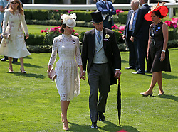 Kate, Duchess of Cambridge, and Prince William, Prince of Wales during day one of Royal Ascot at Ascot Racecourse.