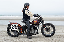 Thelma Domalewicc with her 1939 Harley-Davidson UL Flathead 74 inch racer at TROG (The Race Of Gentlemen). Wildwood, NJ. USA. Sunday June 10, 2018. Photography ©2018 Michael Lichter.