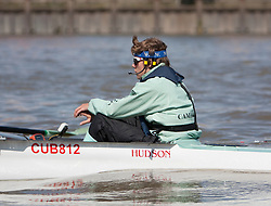 © Licensed to London News Pictures. 06/04/2012. London, U.K..Ed Bosson, Cox, of The Cambridge crew at The Xchanging Oxford & Cambridge University Boat Race practice and preparation today Friday 6th April ready for The boat race on saturday 7th April...Photo credit : Rich Bowen/LNP
